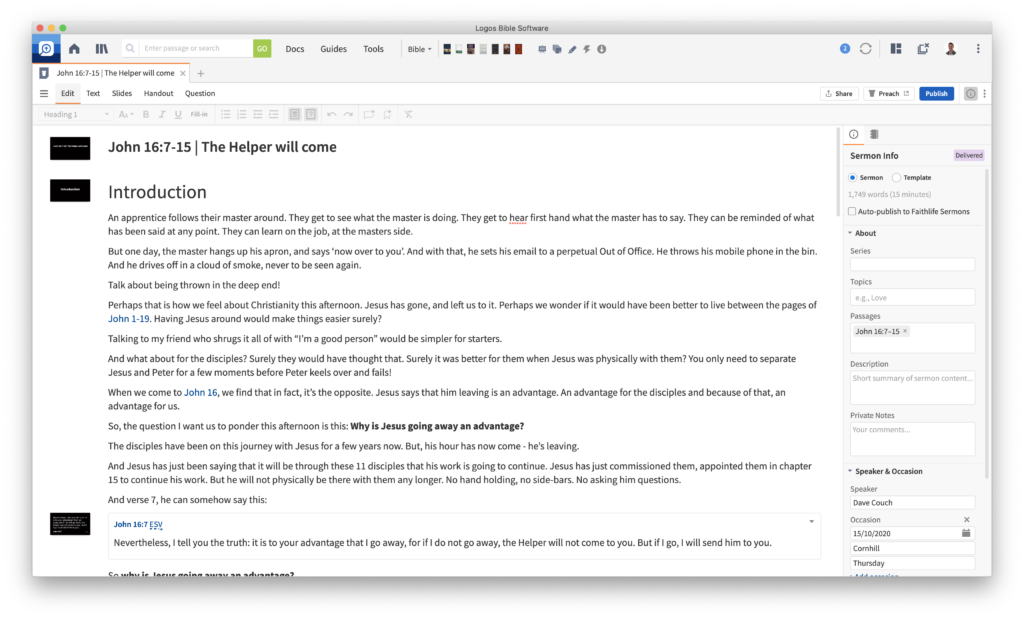 The updates to the sermon builder included with Logos 9 make the tool much more usable and powerful