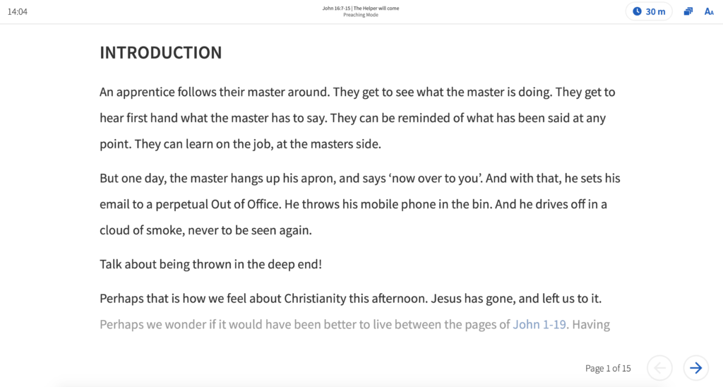 The new preaching mode in Logos 9 is brilliant